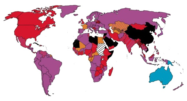 Map of world voting systems